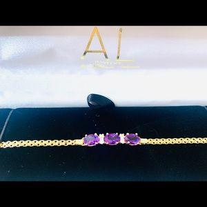 Amethyst Bracelet with diamonds 14kt